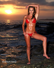 Laguna Beach sunset sand bikini babe brunete blue eyes